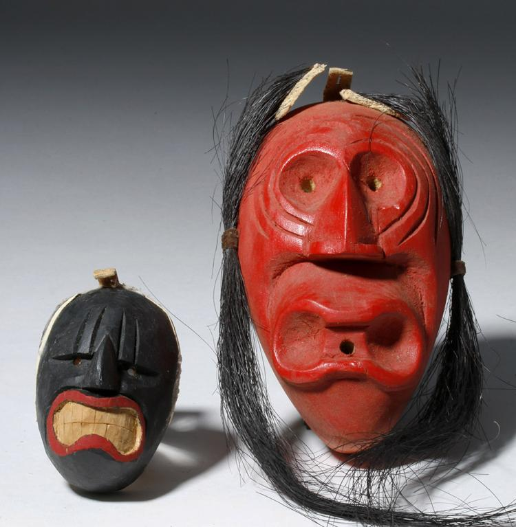 20th C. Iroquois False Face Spoon Mouth Masks (pr)