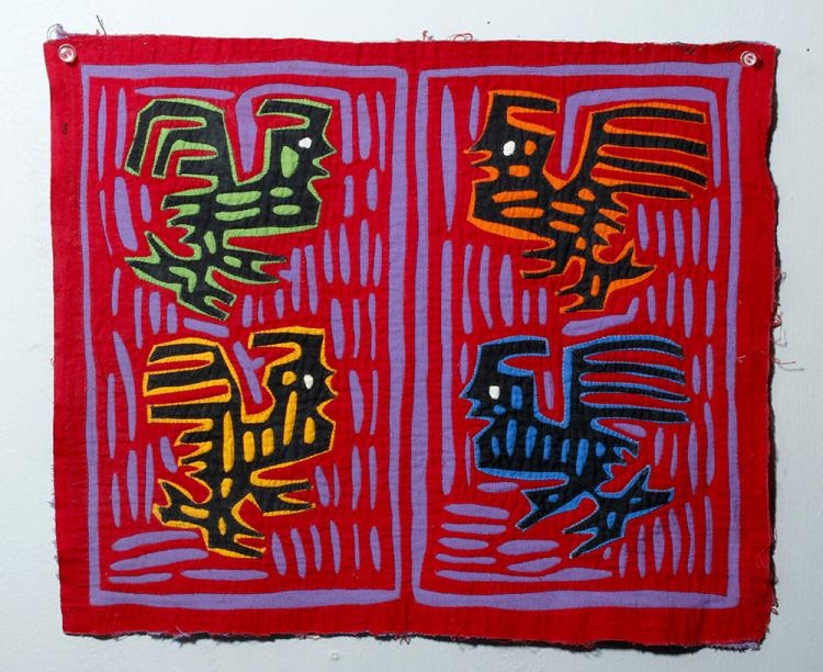 1950s Panamanian Textile Mola - Four Roosters