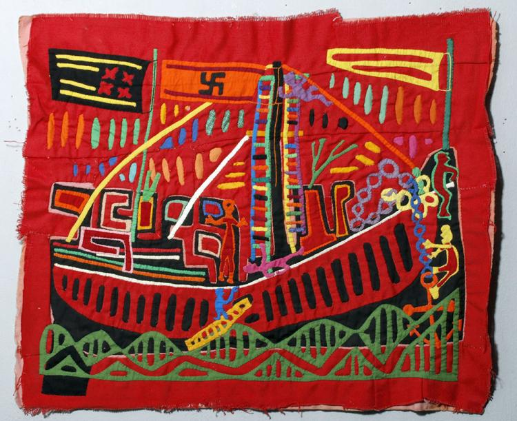 Panama Cloth Mola with Flags and Ship - Panama Canal