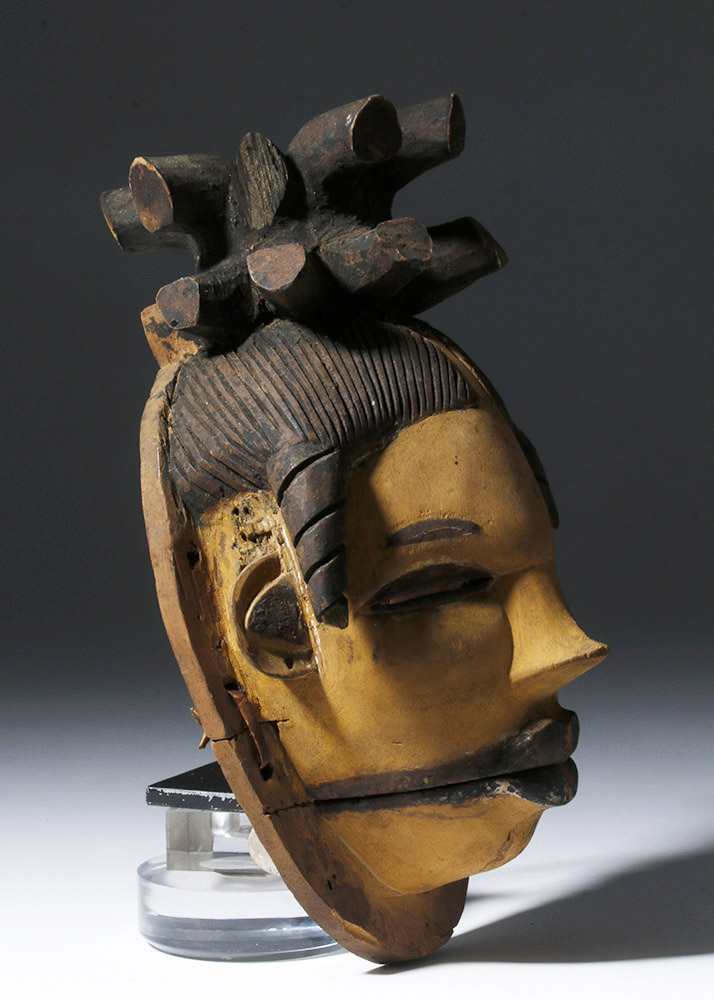 Rare African Ogoni Painted Wood Mask, Hinged Jaw