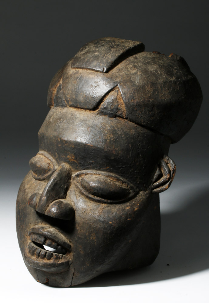African Bamum Kwifo Society Wooden Helmet Mask