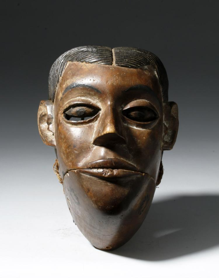Nigerian Ibibio Wood Maskette with Articulated Mouth