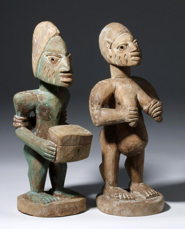 Matched Pair 20th C. Nigerian Wood Carved Figures