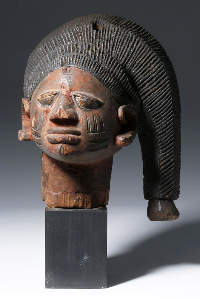 Yoruba Gelede Carved Wood Headdress - Snakelike Hair