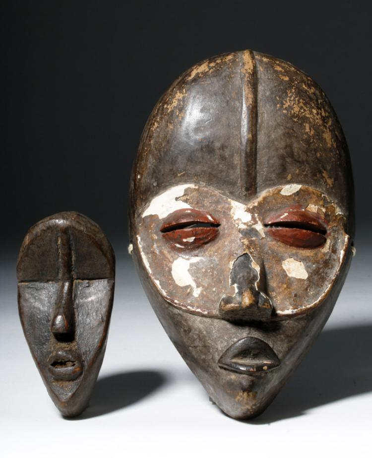 Pair African Carved Wooden Dan Passport Masks