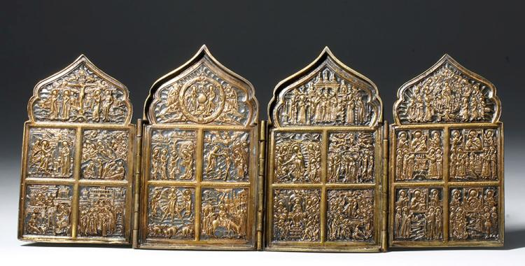19th C. Russian Quadripartite Brass Traveling Icon