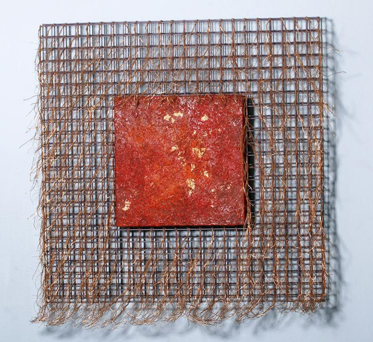 Large Mixed Media Encaustic & Copper - Susan Venable