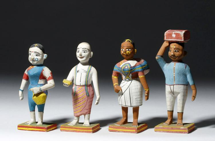 Indian Four Human Figures in Colorful Papier Mache