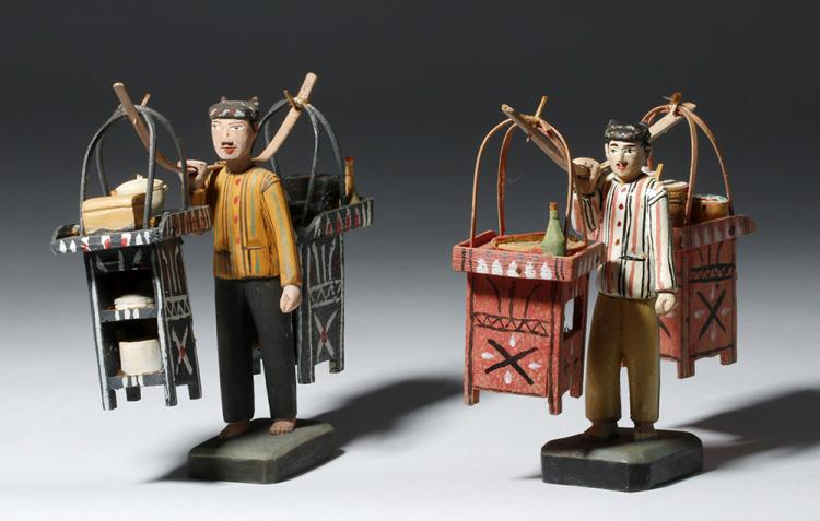 Pair of Indonesian Peddler Figures