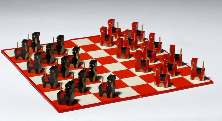 Old Japanese Board Game Checkers with Horse Theme