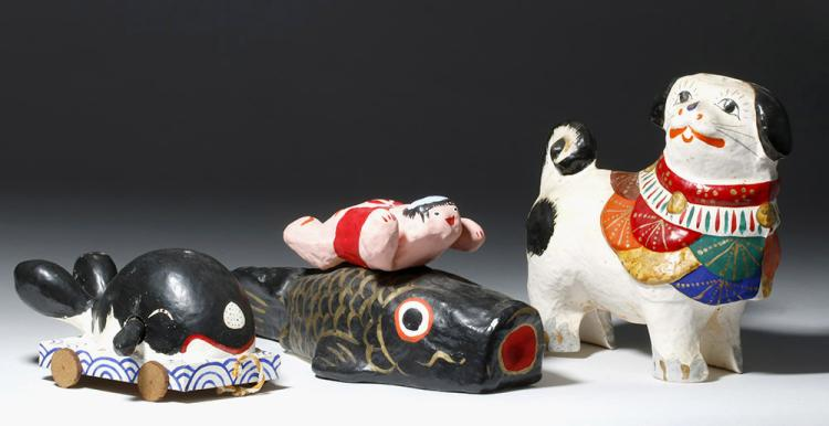 3 Wood and Papier Mache Japanese Animals