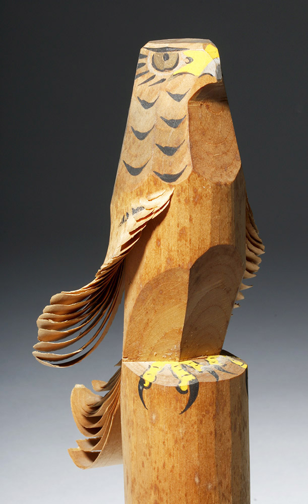Japanese Sasano-Bori Wooden Painted Eagle