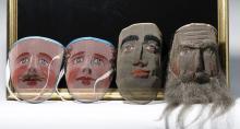 Four Odd Fellows Ceremonial Screen Masks