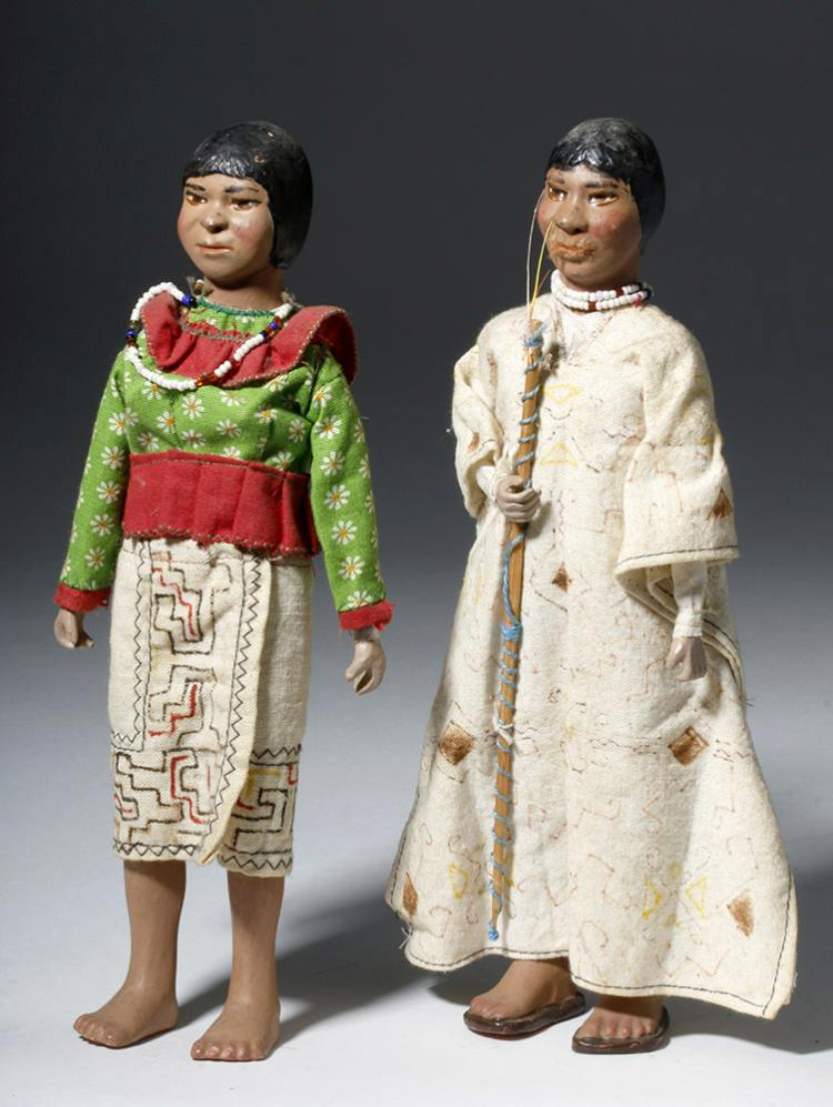 Pair of Peruvian Shipibo Dolls - Male & Female