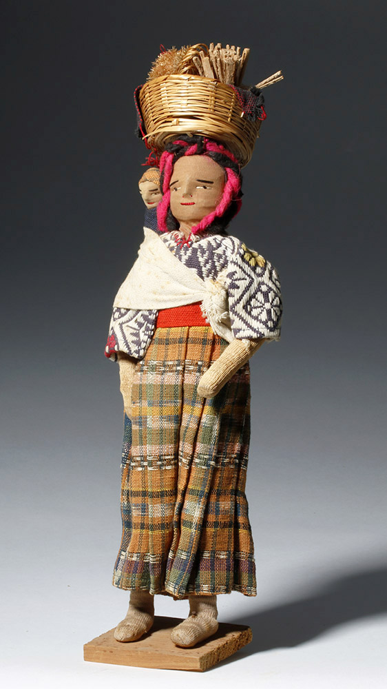Handmade Guatemalan Doll - Beautiful Textiles & Wicker