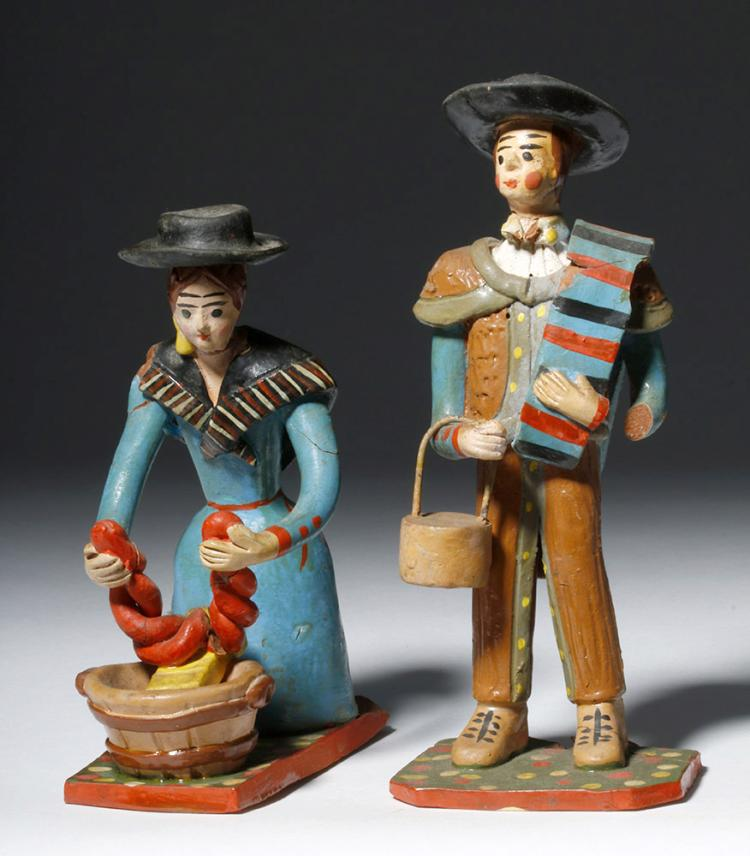 Pair of Portuguese  Painted Ceramic Figures