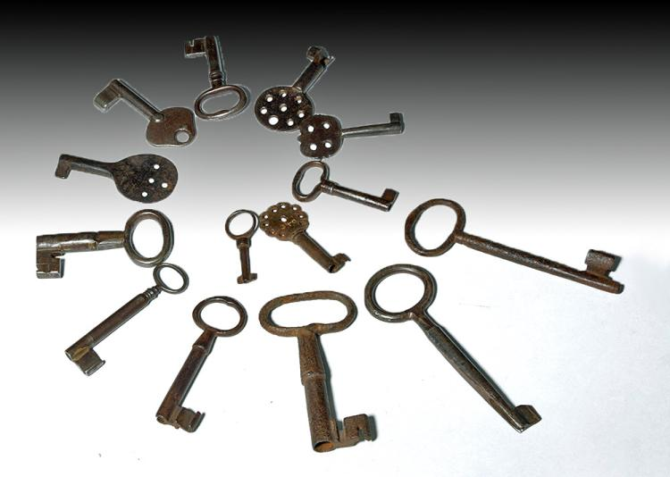 18th C. Iron Skeleton Keys -  24 Varying Sizes