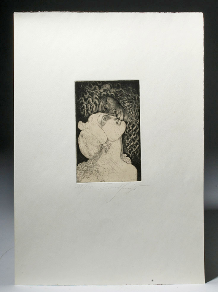 Vienna Modernist Ernst Fuchs Signed & Dated Engraving