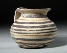 Beautiful Daunian Polychrome Decorated Pottery Vessel