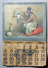 SF Railways 1930 Calendar - Couse Katsina Doll Card