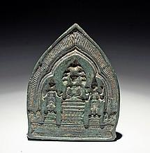 Khmer Bronze Mold for Buddhist Votive Tablet