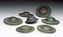 Lot of 7 Khmer Bronze Belt Buckles