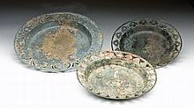 Lot of 3 Khmer Bronze Openwork Plates