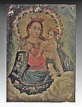 19th C. Mexican Retablo, N.S., Refugio De Pecadores