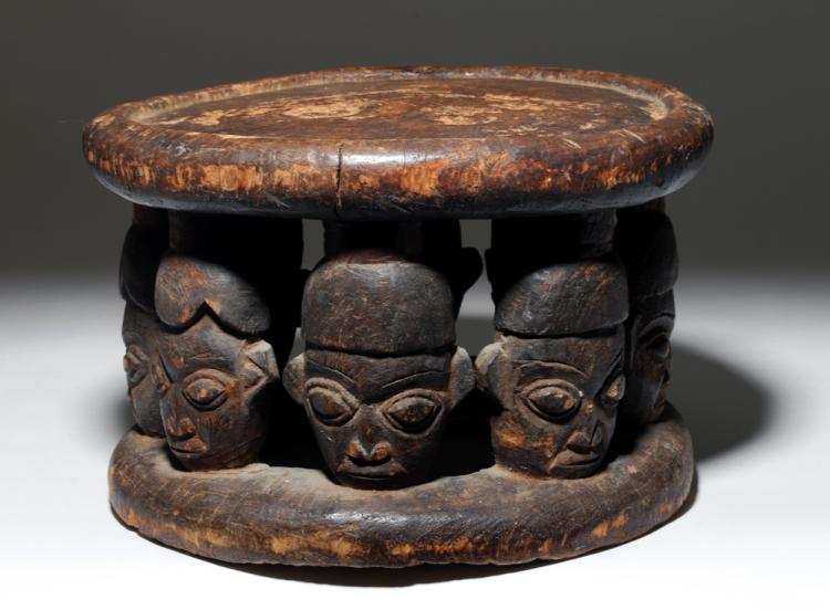 Early 20th C African Wood Bamun Chief S Stool