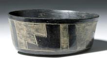 Very Fine Paracas Blackware Bowl w/ Step Pattern