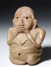 Proto Mayan Pottery Kneeling Male Figure