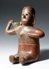 Colima Red-Slipped Seated Woman with Bowl