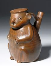 Pre-Columbian Vicus Pottery Effigy Jar - Seated Male