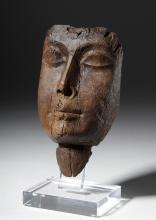 Realistic Egyptian Carved Cedar Mummy Mask