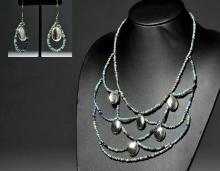 Custom Jewelry - Egyptian Faience Necklace + Earrings
