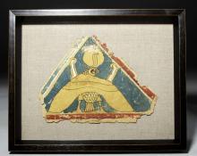 Lovely Framed Egyptian Linen & Gesso Horus