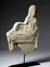 Superb Large Greek Pottery Relief Banqueter