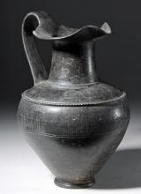 Large Etruscan Bucchero Pottery Oinochoe