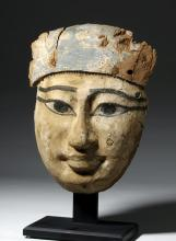 Exceptional Egyptian Wooden Mummy Mask, 2600+ Years Old