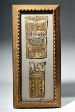 Gorgeous Egyptian Framed Linen Sarcophagus Panels