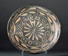 Extensively Decorated Greek Xenon Pottery Plate