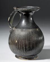 Beautiful Greek Campanian Blackware Jug w/ Maskette