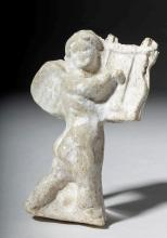 Roman Pottery Figural Relief of Cupid Playing Lyre