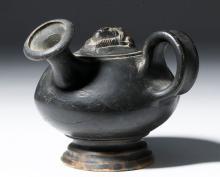Unusual Greek Blackware Guttus -  Medusa