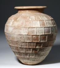 Huge Etruscan Pottery Pithos - Checkerboard Pattern