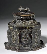 19th C. Tibetan Copper Stupa (Choten) w/ Dorje