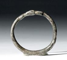 Ancient Greek Silver Bracelet - Snakes / Serpents