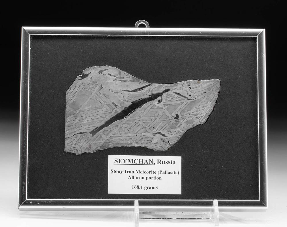 Framed Russian Seymchan Pallasite Meteorite Fragment