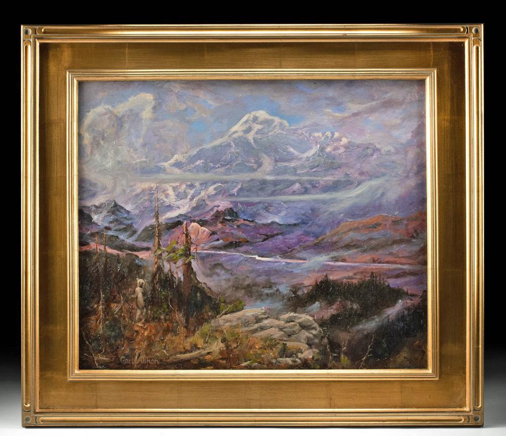 Framed & Signed Carl Abken Painting - Bears in Alaska