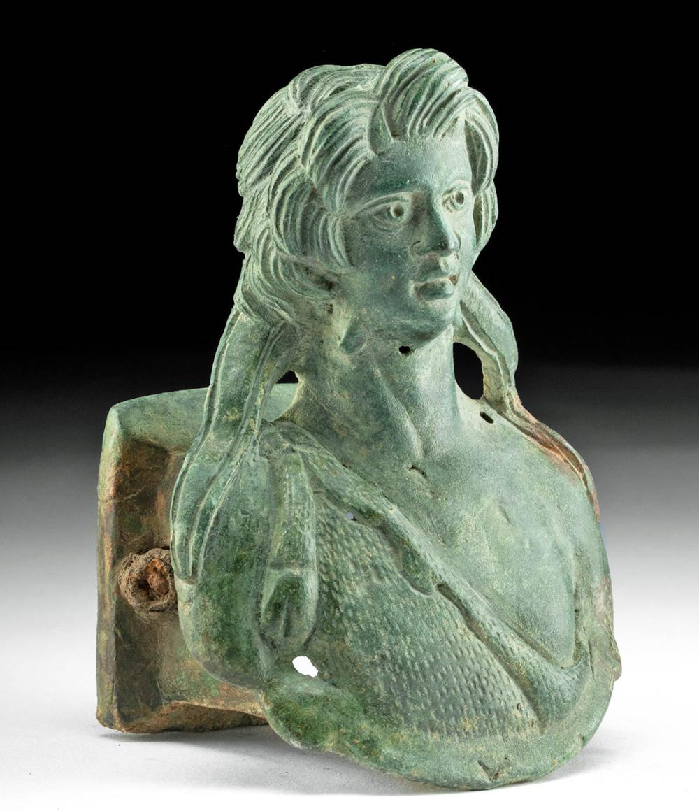 Roman Bronze Chariot Fitting Bust of Youthful Hercules